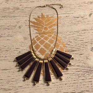 Purple and gold statement necklace